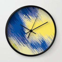 blue and yellow painting abstract background Wall Clock