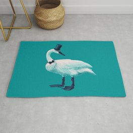 Funny Swan With Bowtie And Cylinder Hat Rug
