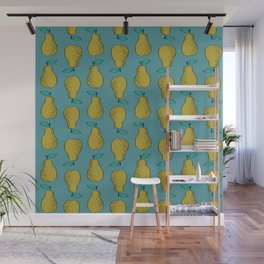 Pear stripes fruit pattern by andrea lauren pears home decor illustration food art Wall Mural