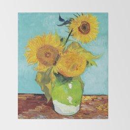 Vincent van Gogh - Three Sunflowers Throw Blanket