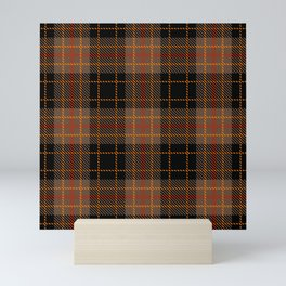 Classic Black and Tan Brown Plaid With Red Highlights Mini Art Print