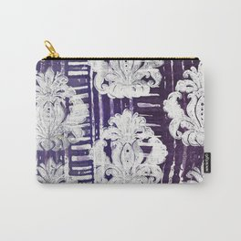White Damask on Purple Carry-All Pouch