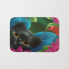 FAIRY KITTEN CAT with RUBY HUMMINGBIRD  Bath Mat