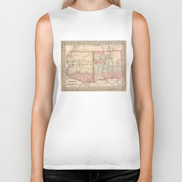 Vintage New Mexico and Arizona Map (1868) Biker Tank