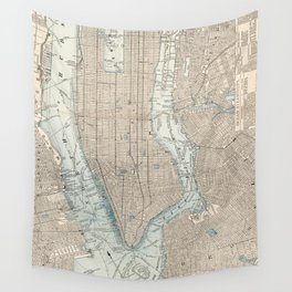 Vintage Map of New York City (1893) Wall Tapestry