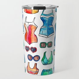 Sixties Swimsuits and Sunnies on white Travel Mug