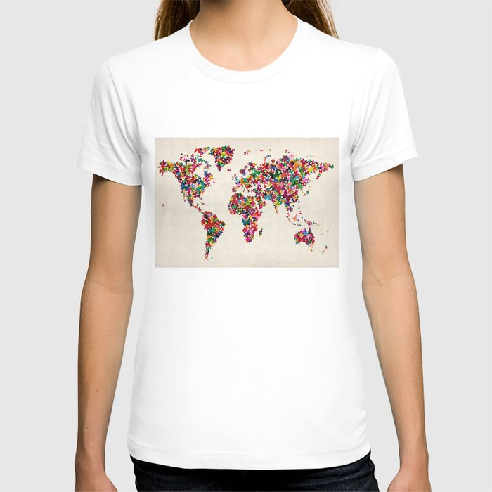 Butterflies Map of the World Map T-shirt