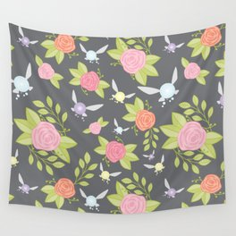 Garden of Fairies Pattern in Grey Wall Tapestry