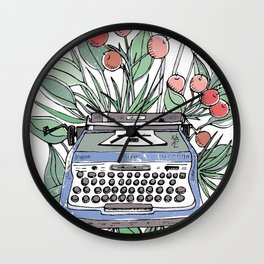 Vintage typewriter. Blue Wall Clock