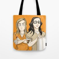 oitnb Tote Bags featuring Alex & Piper OITNB by StephDere