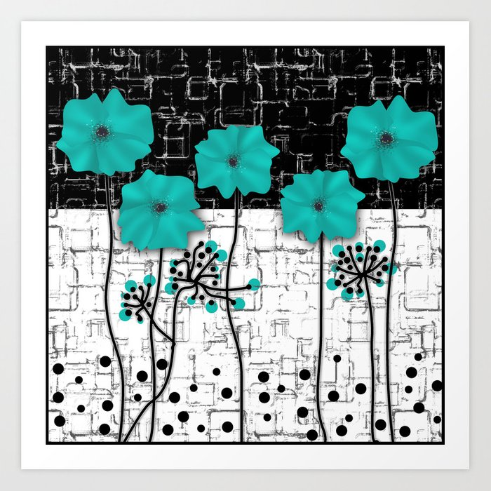 Turquoise Flowers On Black And White Background Art Print By