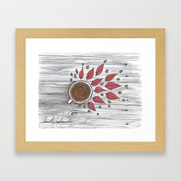Hot coffee on a chilly fall day Framed Art Print