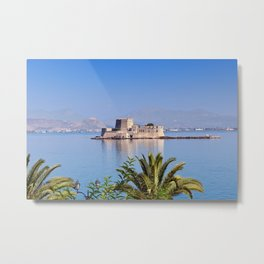 The castle of Bourtzi in the bay of Nafplio, Greece  Metal Print