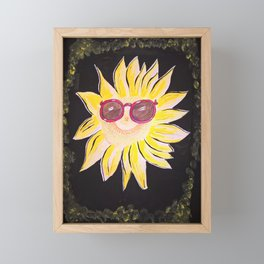 A fanny sunflower with sunglasses. Handmade drawing. Framed Mini Art Print