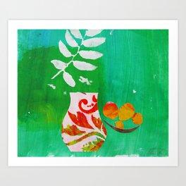 Fern & Peaches Still Life Art Print