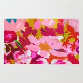 Abstracted Flower Painting in Hot Pink, red, spring green Rug