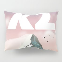 K2 Mountain travel poster. Pillow Sham