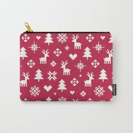 PIXEL PATTERN - WINTER FOREST RED Carry-All Pouch