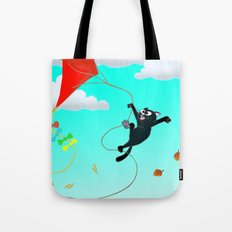 Cat on a Kite - Autumn Cat Tote Bag