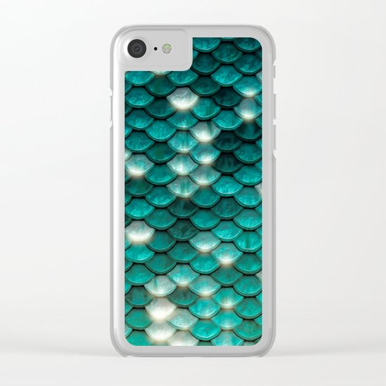 Turquoise sparkling mermaid glitter scales- Mermaidscales Clear iPhone Case
