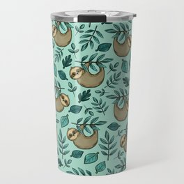 Cute Little Sloth, Sweet Sloth, Teal Print Travel Mug