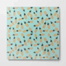 Blue Pineapple Shake Metal Print