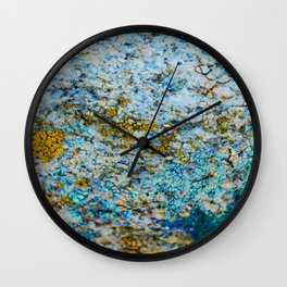 Hyper Lichen on Desert Rock Wall Clock