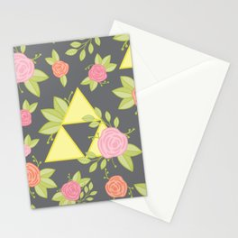Garden of Power, Wisdom, and Courage Pattern in Grey Stationery Cards