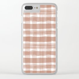 Cavern Clay SW 7701 Watercolor Brushstroke Plaid Pattern on White Clear iPhone Case