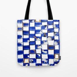 Blue and White Checks Tote Bag