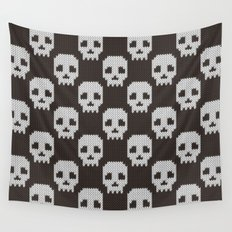 Knitted skull pattern Wall Tapestry