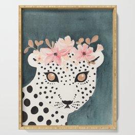 Flower Crown Leopard Serving Tray
