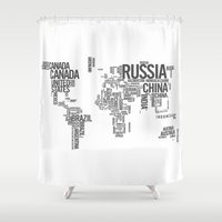 atlas Shower Curtains featuring World Map - Atlas by Rothko