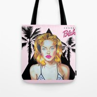 barbie Tote Bags featuring Golden Barbie by Kendal Blake