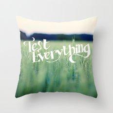 test e v e r y t h i n g Throw Pillow