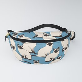 Siamese Cats crowd on blue Fanny Pack