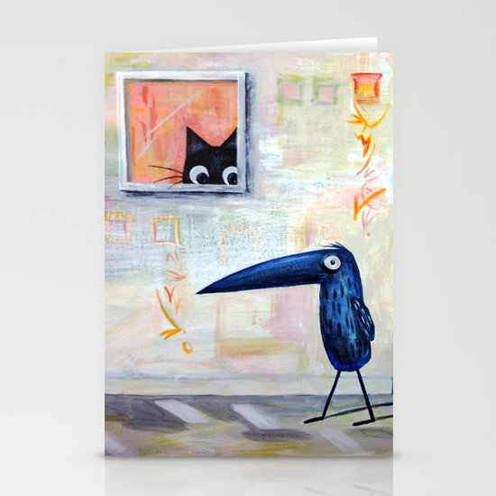 Cat and Bird Stationery Cards