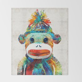 Sock Monkey Art - Your New Best Friend - By Sharon Cummings Throw Blanket