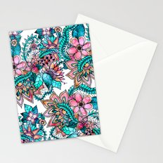 Boho turquoise pink floral watercolor illustration Stationery Cards