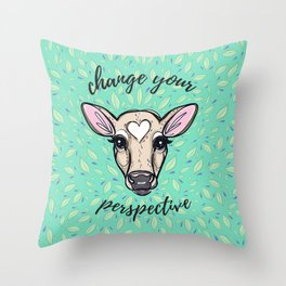 Change Your Perspective Tan Baby Cow Throw Pillow