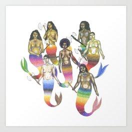 mermaids holding axes Art Print