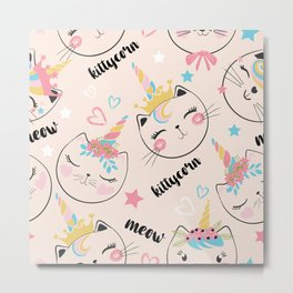 Cute cat unicorn pattern illustration for kids Metal Print