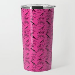 Vintage Museum Animals | Dinosaurs &  Skeletons on Pink | Surface Pattern Repeat Travel Mug