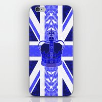 british flag iPhone & iPod Skins featuring Royal Blue - British Flag & Crown by Ornaart