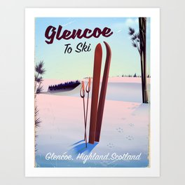 Glencoe Ski Scotland travel poster Art Print