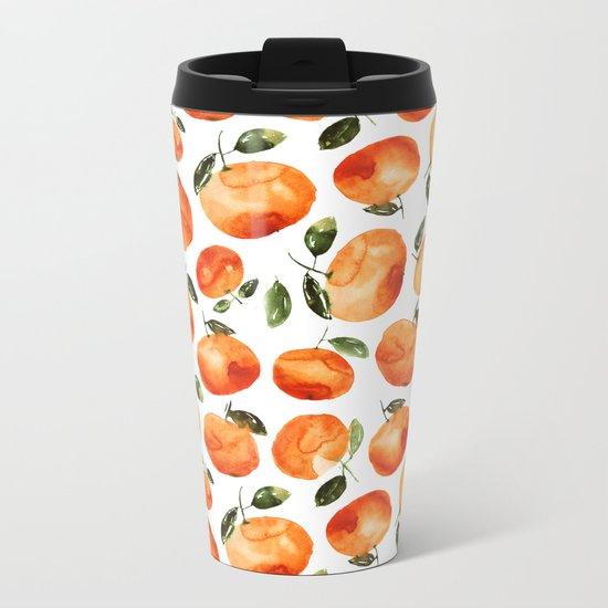 Watercolor tangerines Metal Travel Mug