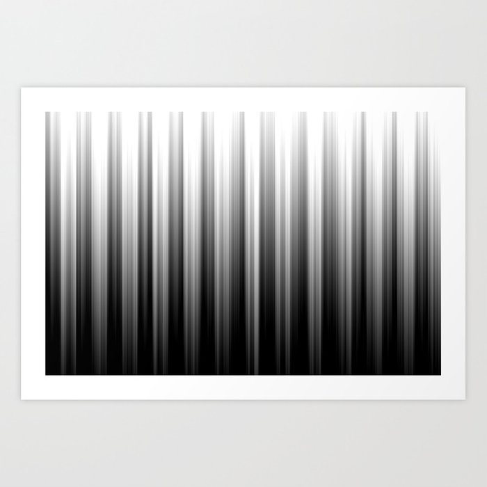 Black And White Soft Blurred Vertical Lines - Ombre Abstract Blurred Design Art Print