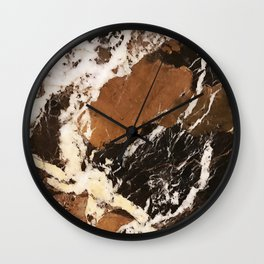 Amalfi Coast Italian Marble in Browns and Black Wall Clock