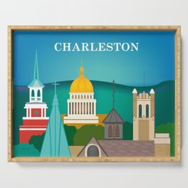 Charleston, West Virginia - Skyline Illustration by Loose Petals Serving Tray