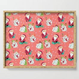 Pink Winter Forest with Cute Snowmen and Santas Serving Tray